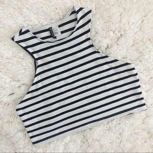 H&M Divided Black and White Striped Crop Tank Top